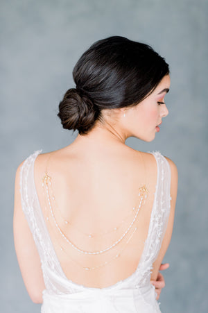 Rose Gold Ornate Multi strand art deco inspired open back wedding dress back necklace - made in Toronto Ontario Canada - Blair Nadeau Bridal - Whitney Heard Photography