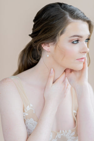 Small gold freshwater pearl half hoop earrings - blair nadeau bridal adornments - whitney heard photography