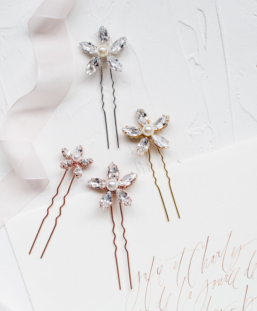 Rose Gold Crystal & Pearl Flower Bridal Hair Pins - Handmade in Toronto Canada - Blair Nadeau Bridal Adornments - Whitney Heard Photography
