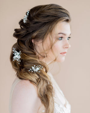 silver bridal hair pins with leaves, crystals, pearls and flowers - blair nadeau bridal adornments - toronto ontario canada - whitney heard photography