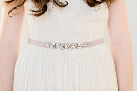 Lavender crystal wedding dress belt - handmade in Toronto Canada - By Blair Nadeau Millinery - Whitney Heard Photography