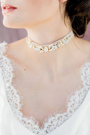 Champagne Gold Crystal Bridal Choker - Handmade in Toronto Canada - Blair Nadeau Bridal Adornments - Whitney Heard Photography