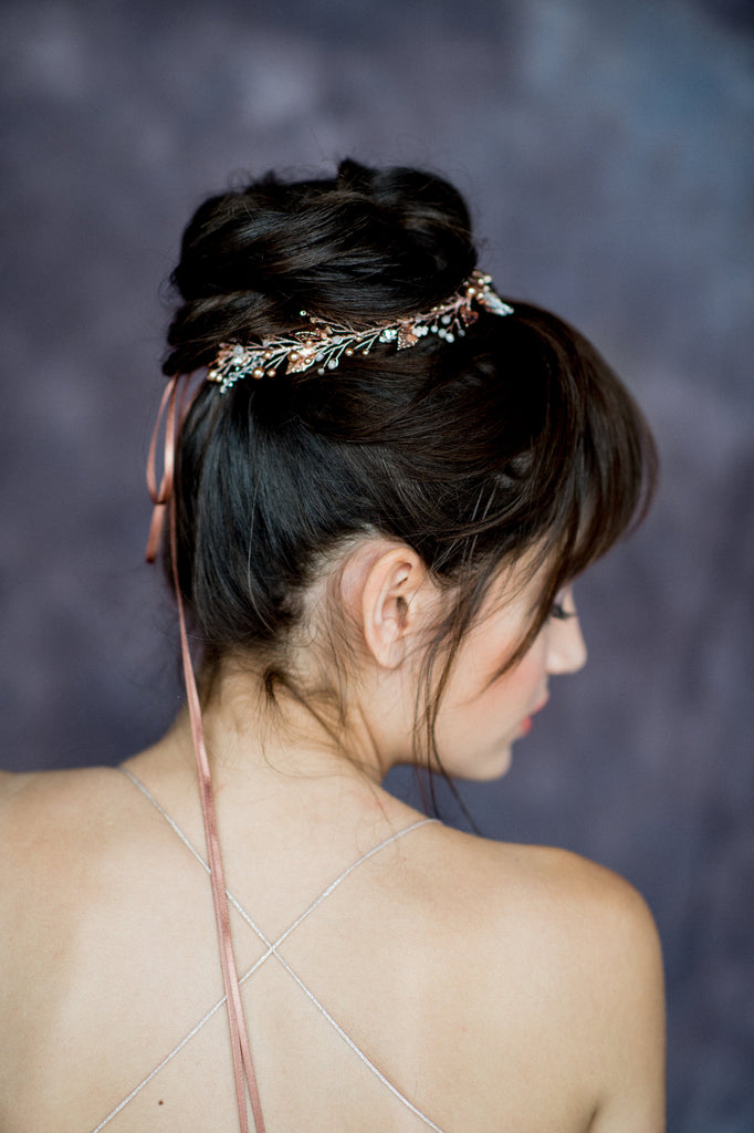 Rose Gold Crystal Pearl Bridal Hair Vine Crown - Handmade in Toronto Canada - Blair Nadeau Bridal Adornments - Whitney Heard Photography