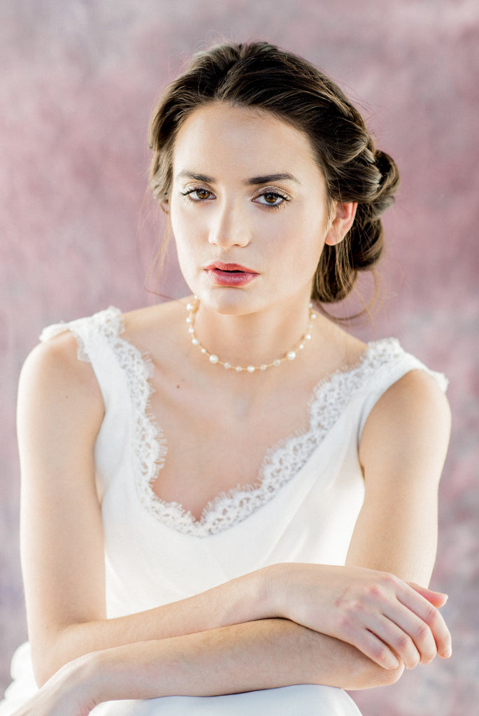 Gold Pearl and Crystal Bridal Choker - Handmade Toronto Canada - Blair Nadeau Millinery - Whitney Heard Photography