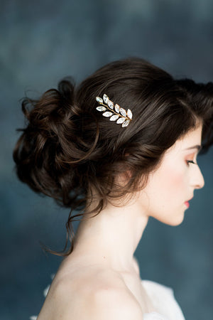 Gold laurel leaf crystal hair vine - handmade in Toronto Canada - Blair Nadeau Millinery - Whitney Heard Photography