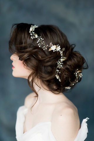 Gold Flower Crystal & Pearl Bridal Hair Vine - Handmade in Toronto Canada - Blair Nadeau Millinery - Whitney Heard Photography