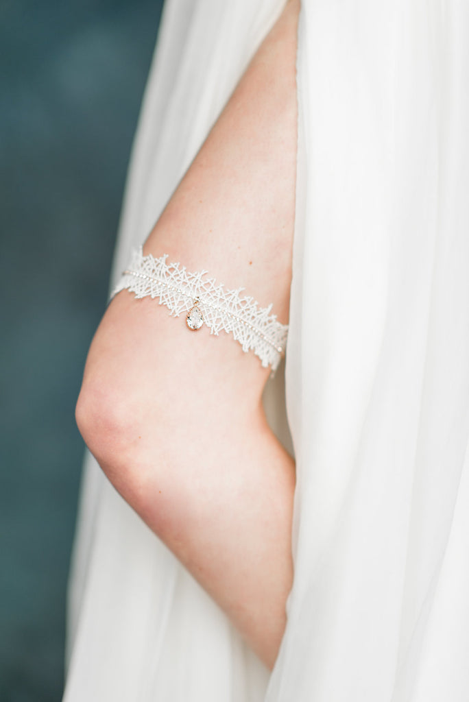 Rose Gold Crystal Lace Bridal Garter - Handmade in Toronto - Blair Nadeau Millinery - Whitney Heard Photography