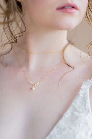 gold delicate double layered bridal swarovski pearl drop necklace - made in toronto ontario canada - blair nadeau bridal adornments - whitney heard photography