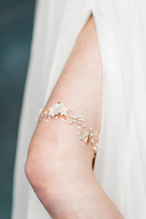 Rose Gold Crystal Flower & Pearl Bridal Garter - Handmade in Toronto - Blair Nadeau Millinery - Whitney Heard Photography