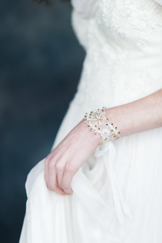 Ivory & Rose Gold Beaded Crystal & Pearl Lace Bridal Cuff - Handmade in Toronto - Blair Nadeau Millinery - Whitney Heard Photography