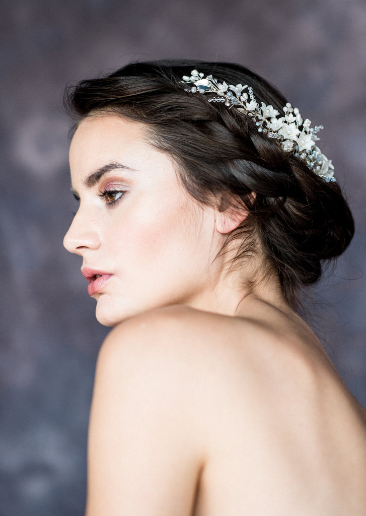 Silver & Ivory Crystal Pearl Floral Vine Hair Comb - Handmade in Toronto Canada - Blair Nadeau Bridal Adornments - Whitney Heard Photography