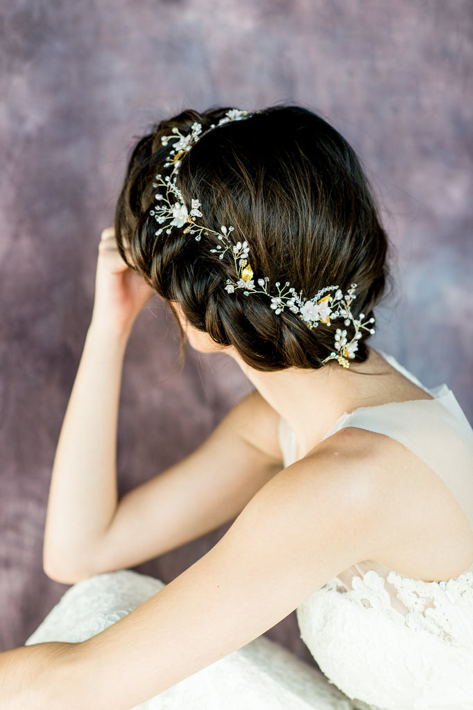 Mirabella crystal pearl flower hair vine blair nadeau bridal gold crystal floral hair vine handmade in toronto canada by blair nadeau bridal adornments mightylinksfo