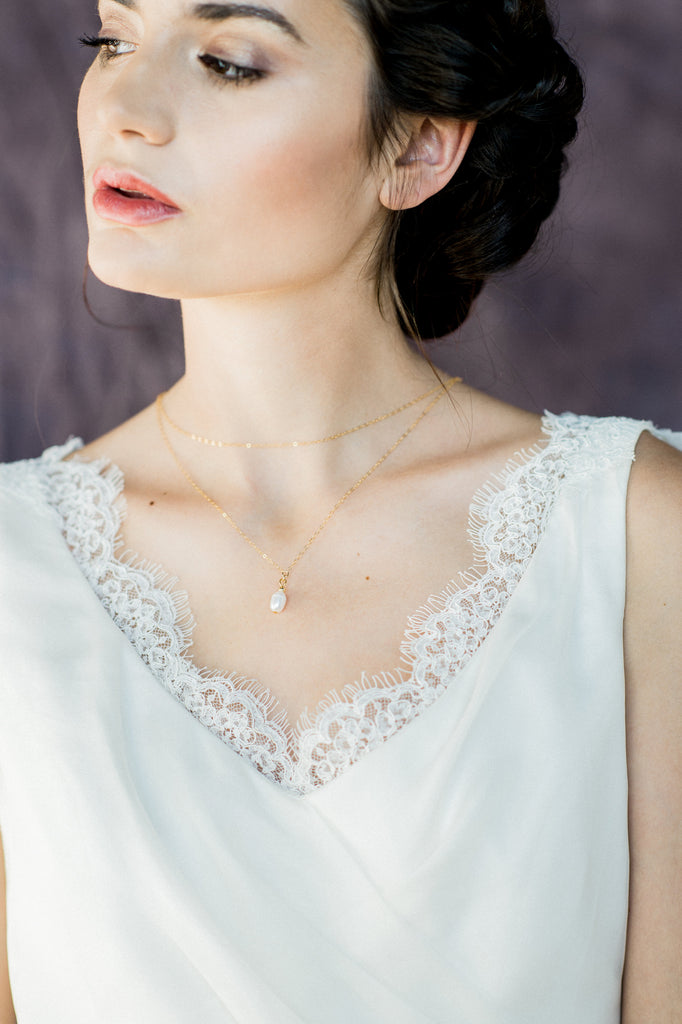 Gold Freshwater Pearl Layered Bridal Back Necklace - Handmade In Toronto Canada - Blair Nadeau Bridal Adornments - Whitney Heard Photography