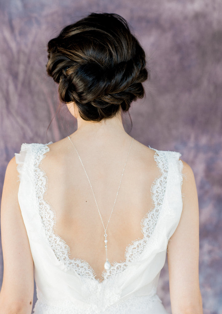 White Marble Teardrop Bridal Back Necklace - Handmade in Toronto Canada - Blair Nadeau Bridal Adornments - Whitney Heard Photography