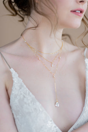 gold keshi baroque pearl y drop pendant bridal necklace - made in toronto ontario canada - blair nadeau bridal adornments - whitney heard photography