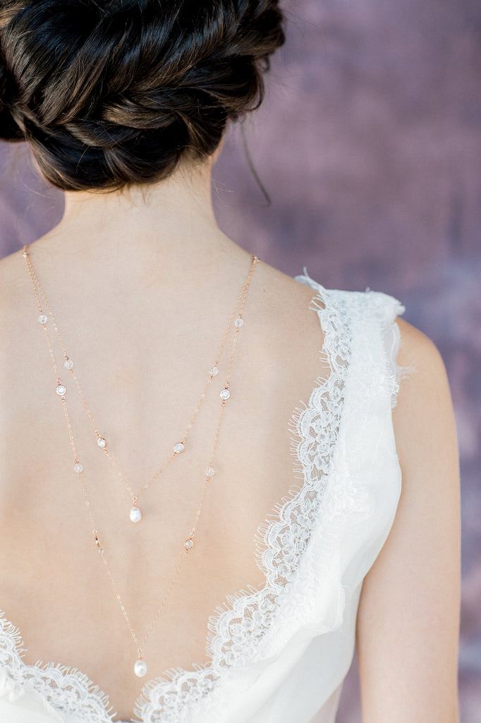 Rose Gold Layered Crystal & Pearl Bridal Back Necklace - Handmade in Toronto Canada - Blair Nadeau Bridal Adornments - Whitney Heard Photography