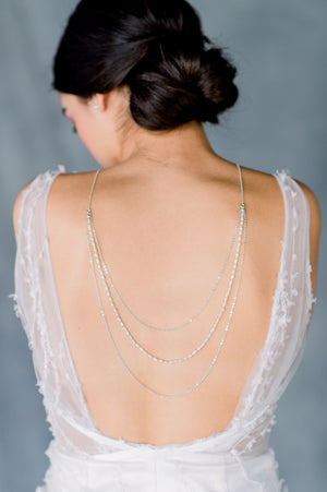 Silver Vintage Freshwater Pearl Multi Strand Bridal Back Necklace for an Open Low Back Wedding Dress - Made in Toronto Ontario Canada - Blair Nadeau Bridal - Whitney Heard Photography