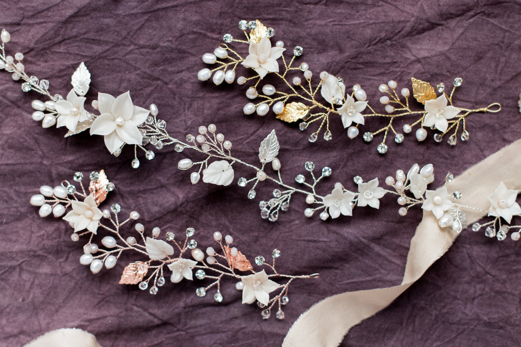Silver Floral Bridal Halo Crown - Handmade in Toronto Canada - Blair Nadeau Bridal Adornments - Whitney Heard Photography