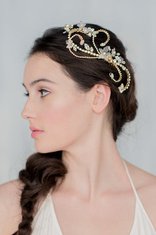 Gold Crystal Bridal Flower Hair Vine - Handmade in Toronto Canada - Blair Nadeau Millinery - Whitney Heard Photography