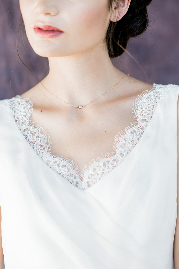 Dainty Rose Gold Swarovski Crystal Bridal Necklace - Handmade in Toronto Canada - Blair Nadeau Bridal Adornments - Whitney Heard Photography
