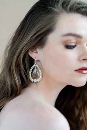 silver teardrop hoop earrings with swarovski crystal and pearls - blair nadeau bridal adornments - whitney heard photography