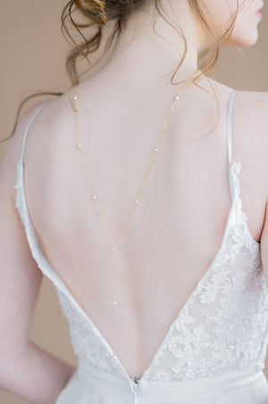 delicate gold ivory swarovski pearl back y drop pendant back necklace - handmade toronto ontario canada - blair nadeau bridal adornments - whitney heard photography