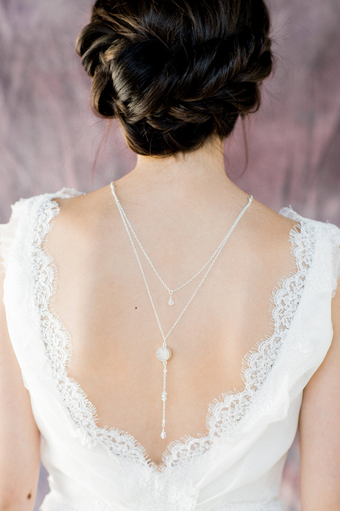 Silver Modern Druzy Geode Bridal Back Necklace - Handmade in Toronto Canada - Blair Nadeau Bridal Adornments - Whitney Heard Photography