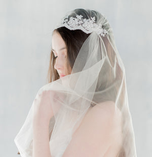 LACEY Lace Juliet Bridal Cap Veil  (More Colours & Lengths) (More Colours & Lengths)