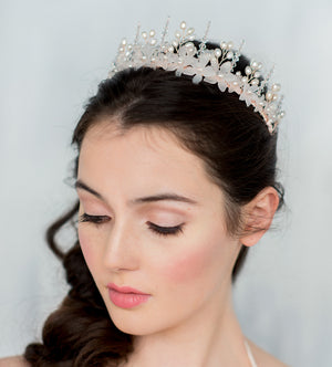 MATILDA Crystal Flower Bridal Crown (More Colours)