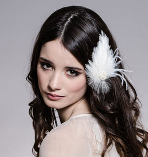 PETIT Bridal Feather Fascinator  (More Colours)