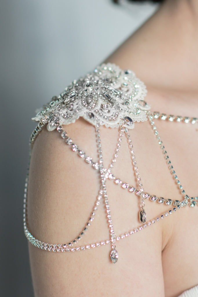 Ivory Crystal Shoulder Necklace - Handmade in Toronto Canada - Blair Nadeau Millinery - Whitney Heard Photography
