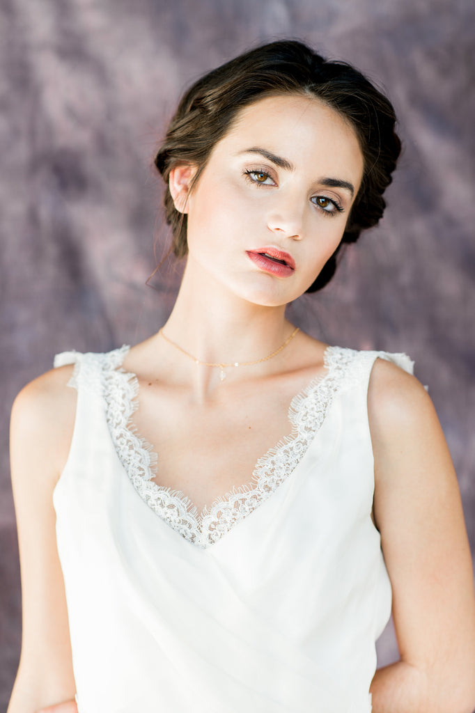 Gold Crystal Drop Back Necklace - Handmade in Toronto Canada - Blair Nadeau Bridal Adornments - Whitney Heard Photography