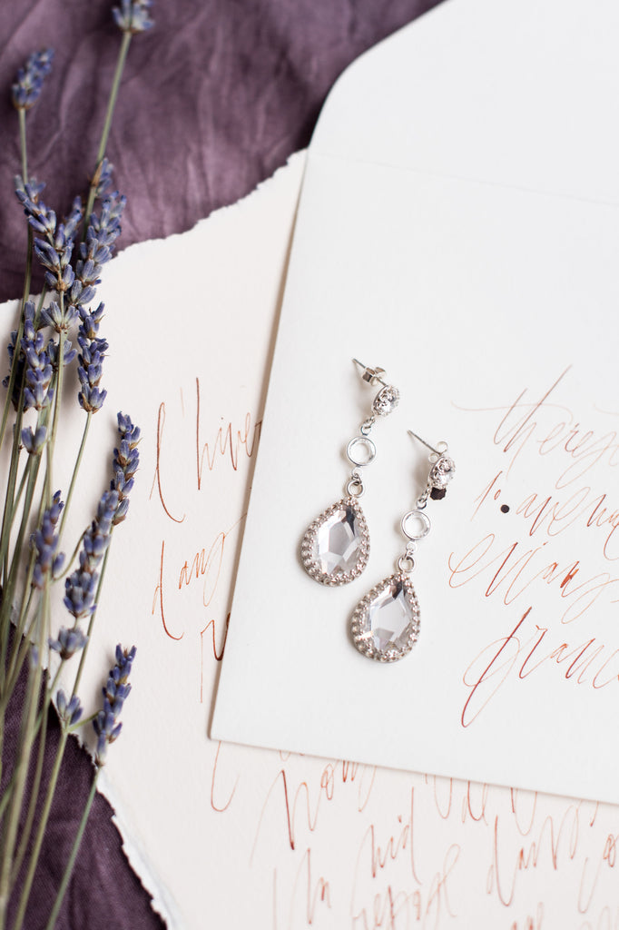 Sterling Silver Teardrop Classic Bridal Earring - Handmade in Toronto Canada - Blair Nadeau Bridal Adornments - Whitney Heard Photography