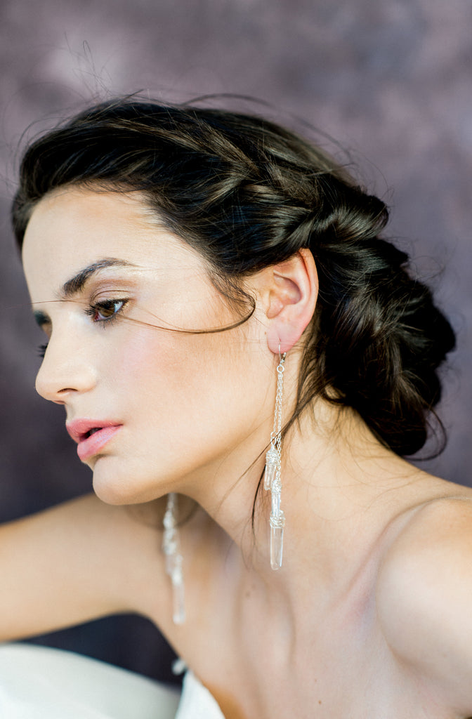 Modern Silver Clear Polished Quartz Bridal Earrings - Handmade in Toronto Canada - Blair Nadeau Bridal Adornments - Whitney Heard Photography