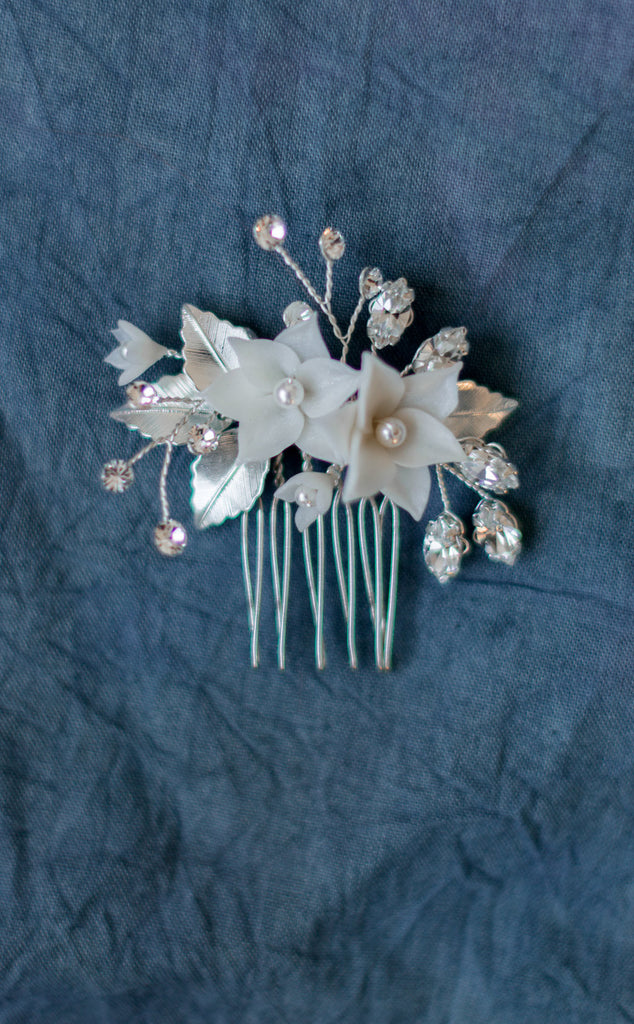 Gold Ivory Flower Hair Comb - Made in Toronto Canada - Blair Nadeau Millinery