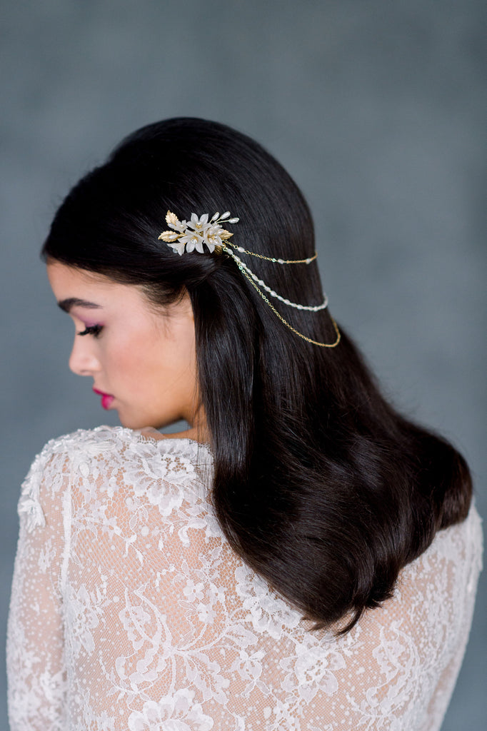 Gold Vintage Freshwater Pearl Boho Bridal Hair Chain - Handmade in Toronto Ontario Canada - Blair Nadeau Bridal - Whitney Heard Photography