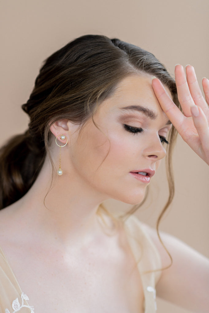Gold modern minimalist hoop earrings with ivory pearl drop - blair nadeau bridal adornments, w hitney heard photography