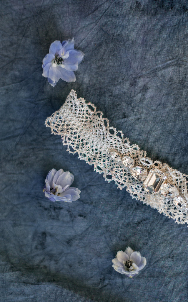 Silver Metallic Lace Ruffle Crystal Garter - Handmade in Toronto - Blair Nadeau Millinery - Whitney Heard Photography