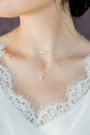 Sterling Silver Layered Rhinestone Pendant Drop Necklace - Handmade in Toronto Canada - Blair Nadeau Bridal Adornments - Whitney Heard Photography