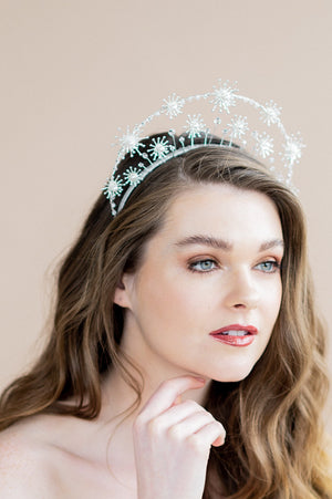 large rose gold celestial bridal halo statement crown -- blair nadeau bridal adornments - handmade in toronto ontario canada - whitney heard photography