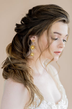 Gold starburst statement earrings with pearls - blair nadeau bridal adornments, whitney heard photography