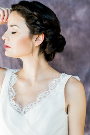 Gold Dainty Beaded Bar Bridal Necklace - Handmade in Toronto Canada - Blair Nadeau Bridal Adornments - Whitney Heard Photography