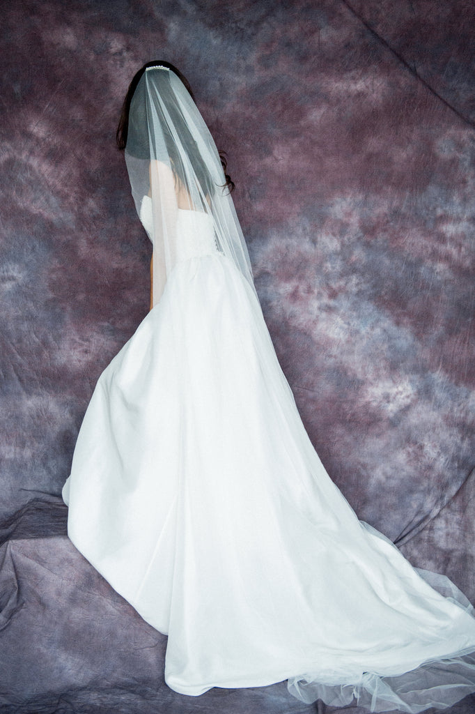 Soft Single Layer Pearl Bridal Veil - Handmade in Toronto Canada - Blair Nadeau Bridal Adornments - Whitney Heard Photography