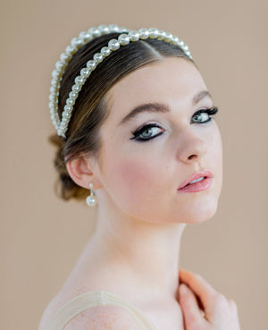 silver large white swarovski pearl double headband coronet - blair nadeau bridal adornments - handmade in toronto ontario canada - whitney heard photography