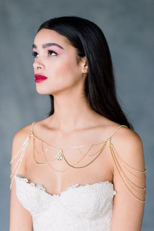 Gold Rhinestone Crystal Bridal Shoulder Necklace Boho Body Chain Wedding Jewelry - Made in Toronto Ontario Canada - Blair Nadeau Bridal - Whitney Heard Photography