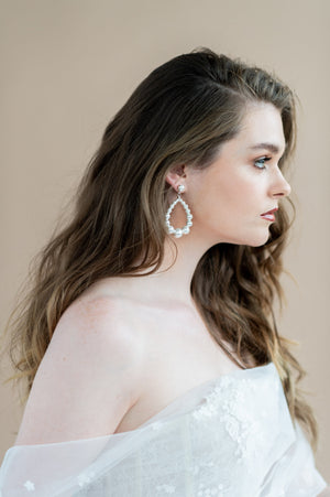 White and Silver Oversized Large Pearl Teardrop Bridal Earrings - Handmade in Toronto Ontario Canada - Blair Nadeau Bridal Adornments - Whitney Heard Photography