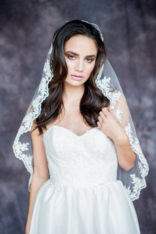 Lace Mantilla Veil - Handmade in Toronto Canada - Blair Nadeau Bridal Adornments - Whitney Heard Photography