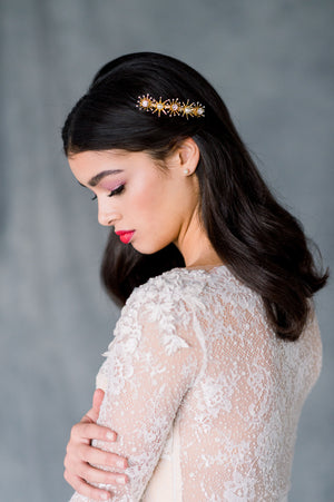 Gold Starburst Celestial Star Inspired Bridal Hair Comb with Pearls and Crystals - Made in Toronto Ontario Canada, Blair Nadeau Bridal, Whitney heard Photography