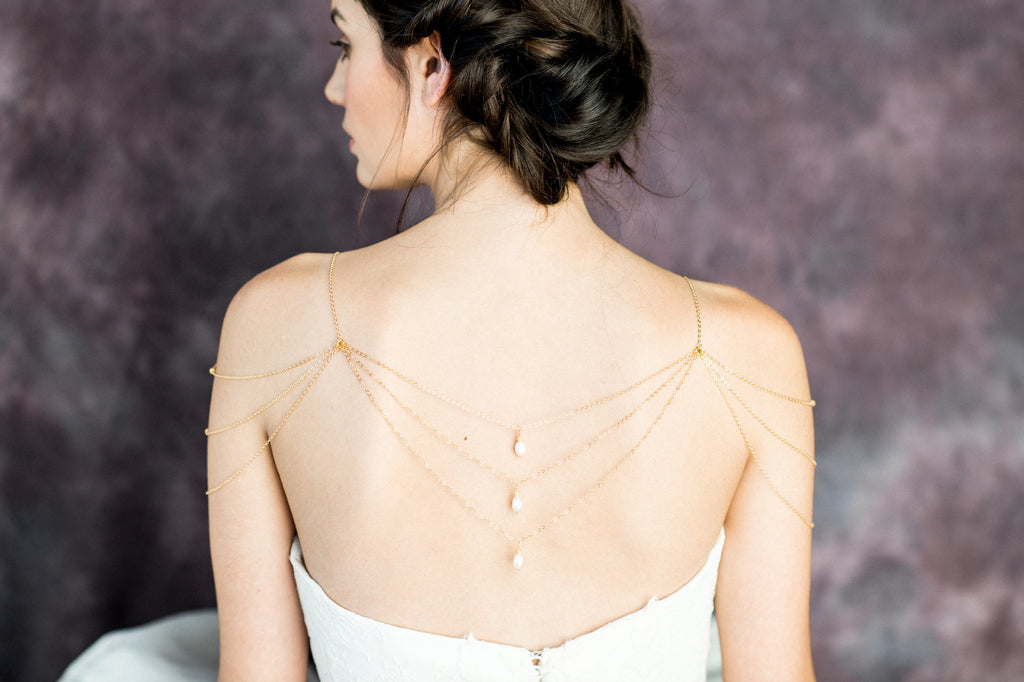 Gold Pearl Delicate Draped Shoulder Necklace - Handmade in Toronto Canada - Blair Nadeau Bridal Adornments - Whitney Heard Photography