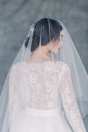 Ivory Scattered Pearl Statement Bridal Drop Veil - Made in Toronto Ontario Canada - Blair Nadeau Bridal - Whitney Heard Photography